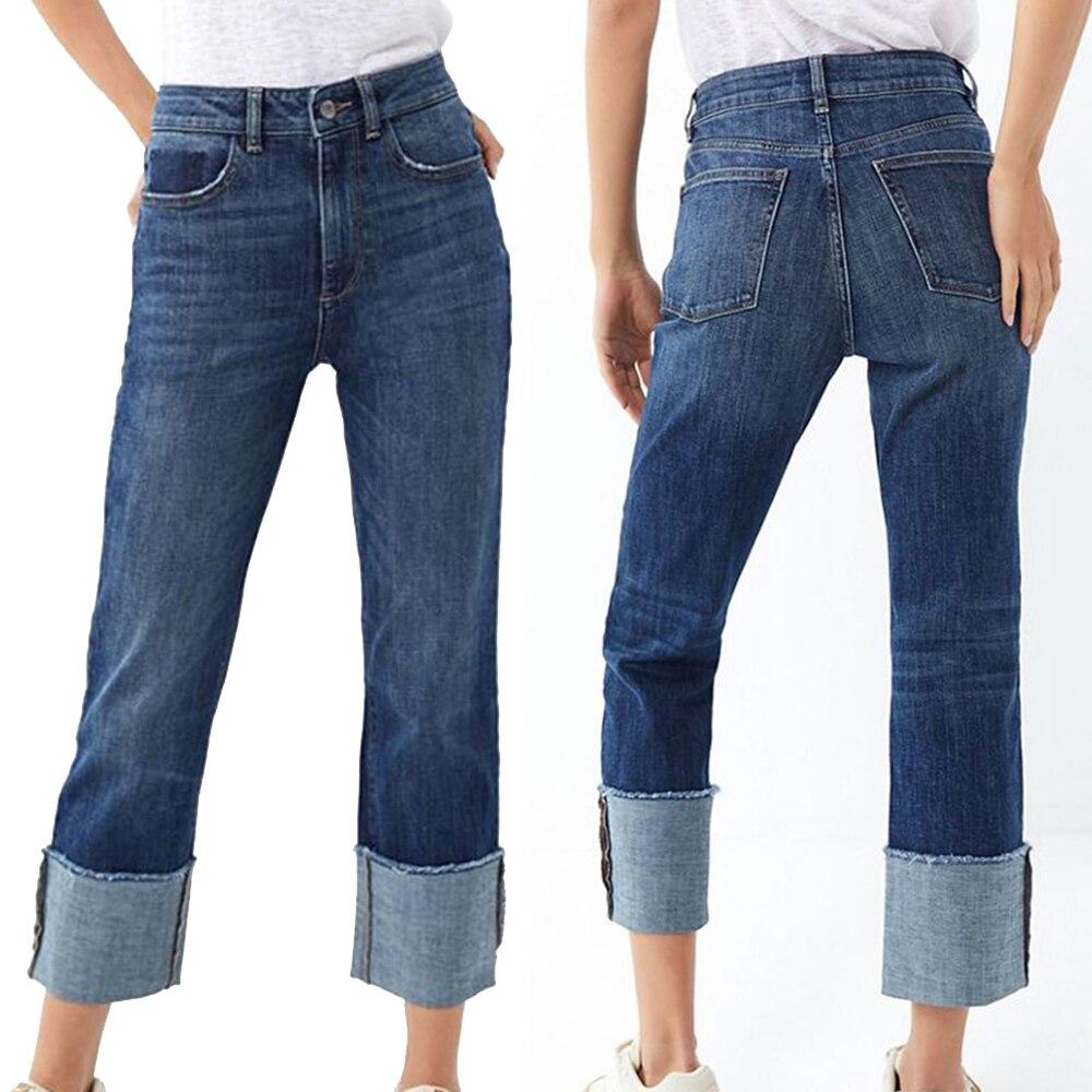 Fashion New Long Jeans Woman High Waist Wide Leg Jean Femme Zipper Fly Casual Solid Denim Jeans Slim Loose Plus Size Jeans