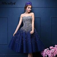 Mbcullyd 8 класс Короткие Выпускные платья тюль платье для выпускного вечера с бисером блестками Королевское синее коктейльное вечерние распро