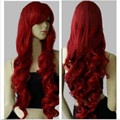 80cm Long Cosplay Dark Red Wigs Ladies' Curly Wigs Perruque Peluca Peruca Parrucca Capelli Synthetic Hair Wig