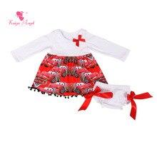 Kaiya Angel/Одежда для маленьких девочек 5 шт./партия, одежда для малышей топ с длинными рукавами, платье шаровары с лентой, комплект одежды