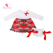 Kaiya Angel Toddler Girl Clothing 5pcs/lot Baby Infant Clothing Long Sleeve Top Dress Bloomers With Ribbon Outfit Clothes Set