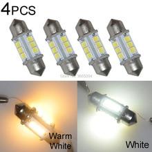 4PCS 32MM 12-2835-SMD Warm White Dome Festoon LED Map Reading Light Bulbs