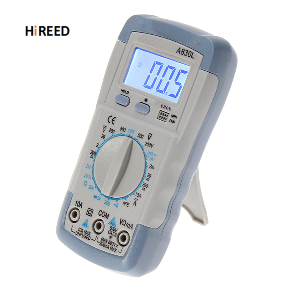 HIREED LCD Digital Multimeter Ohmmeter Multi Tester AC DC Voltmeter Hand  backlight Multimeter Grey white color