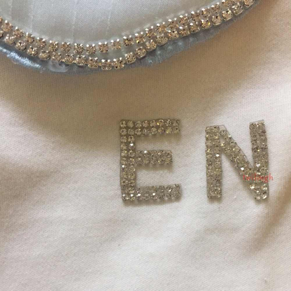 1 pcs Letter Patches Shiny iron on DIY motifs Hot Fix rhinestones New English alphabet Letter for Women Clothes Wedding Patch