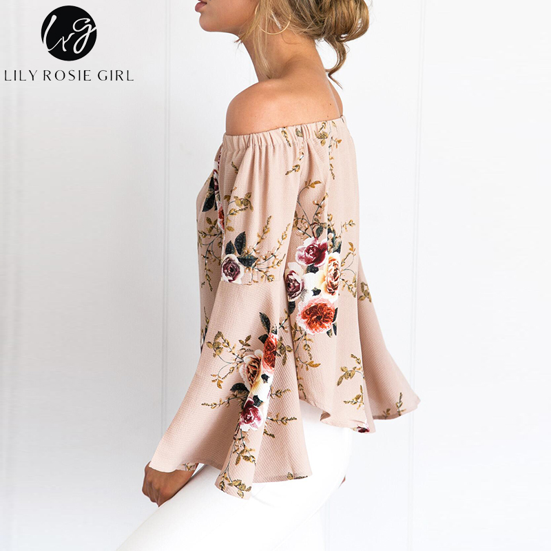 77b18e24290bc US $25.98 |Lily Rosie Girl Off Shoulder Khaki Boho Floral Print Blouse  Women Autumn Winter Flare Long Sleeve Sexy Tops Cotton Shirt Blusas-in  Blouses ...