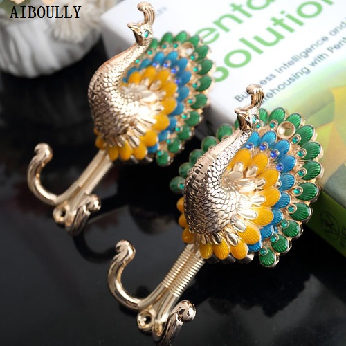 AIBOULLY 2 PCS / Set Classical Fashion Quality Retro Peacock Alloy Curtain Holder Hanging Ball Wall Hook Curtain Accessories