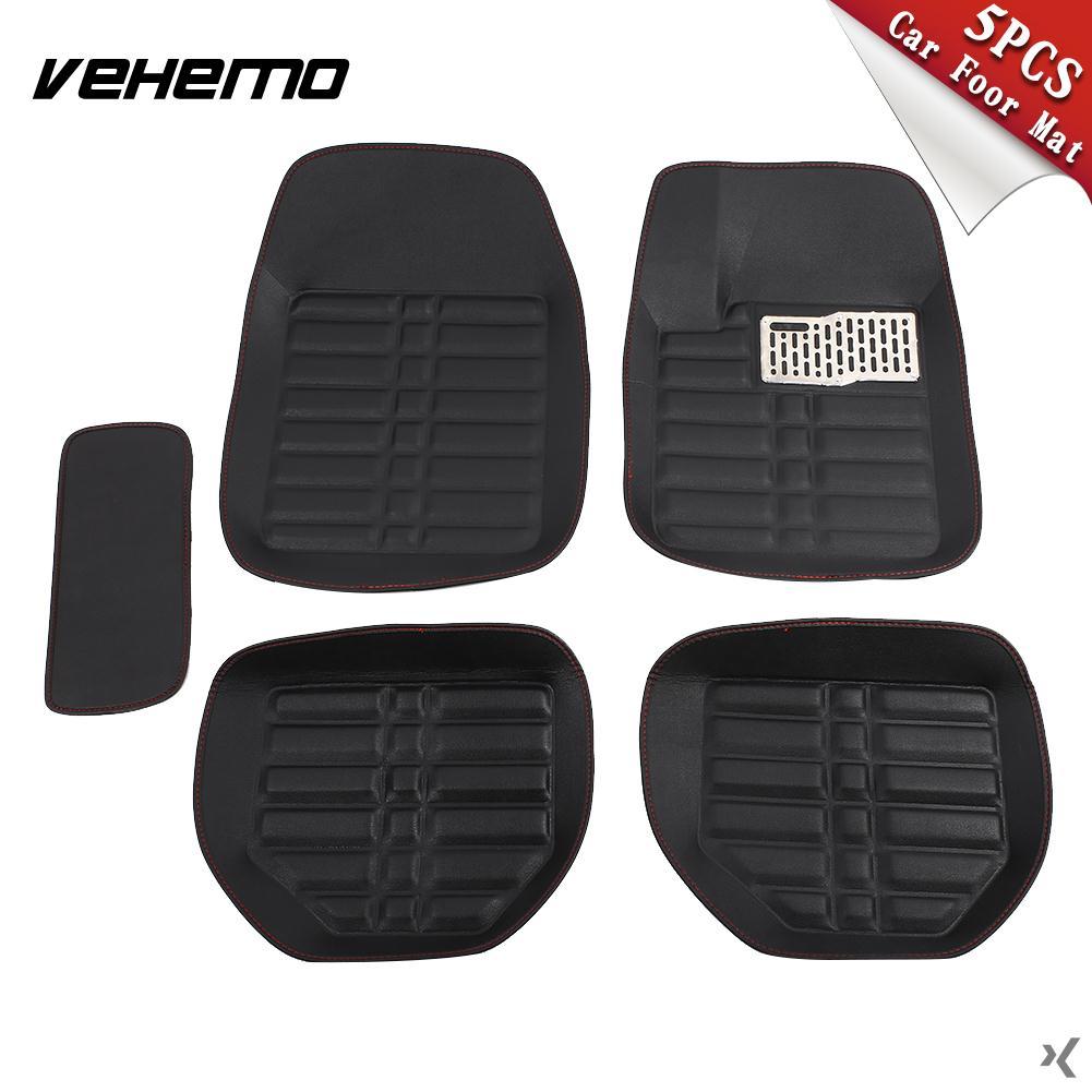 Vehemo 5 pièces tapis de sol de voiture noir tapis de sol de conducteur camions tapis Auto véhicules avant et arrière tapis de pied Premium Vans