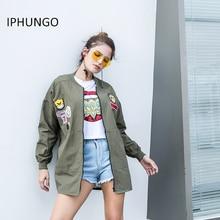 Фотография IPHUNGO Cool Woman Oversize ladies Coat Thin Baseball Jacket Badge Coat Army Green Embroidery Casual Cardigan High quality