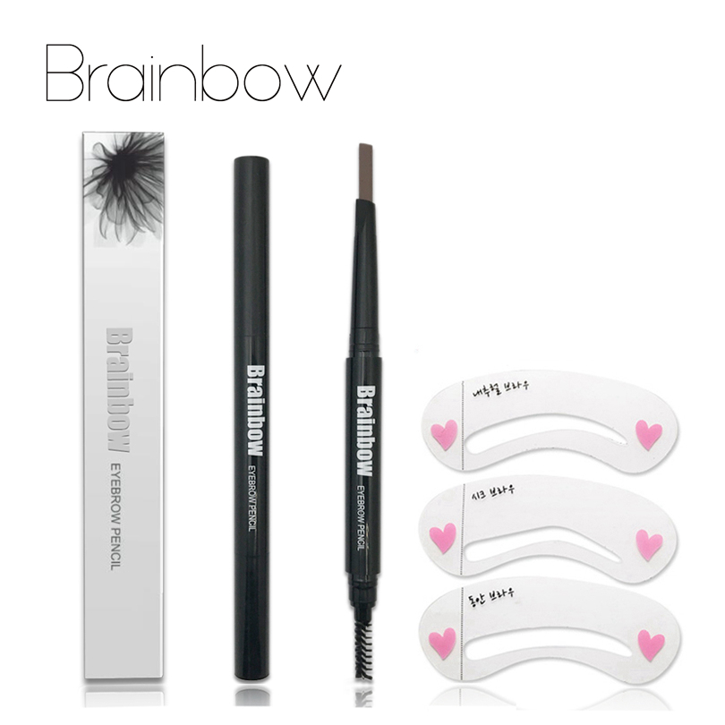 Brainbow Automatic Eyebrow Pen With Brush Eyebrow Eyeliner+3 Eyebrow Shape Stencils Waterproof Longlasting 5 Colors Eyes Pencil