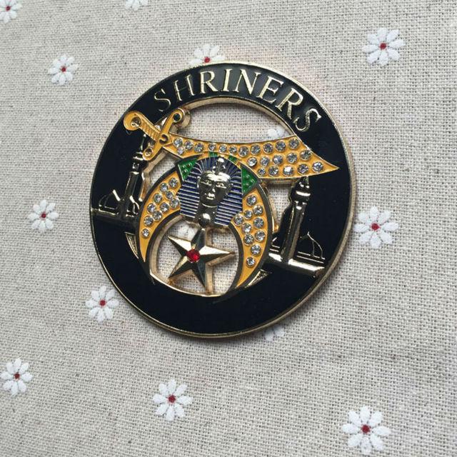 US $30 99  5pcs Small Wholesale Rhinestones Masonic Auto Emblems SHRINERS  Car Logo Emblem Metal Craft Badges Freemasonry for the Lodge-in Badges from