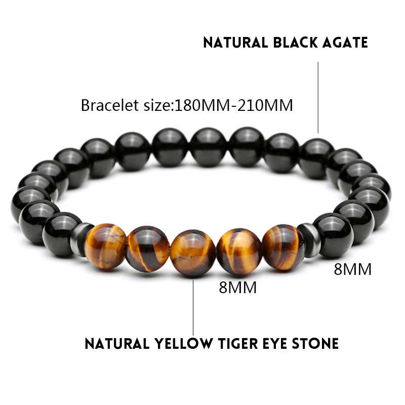 Mcilroy dopasować nowy koraliki w kolorze tiger eye bransoletki i Bangles elastyczny łańcuch liny 8MM bransoletki z kamienia naturalnego dla kobiet mężczyzn biżuteria 2019