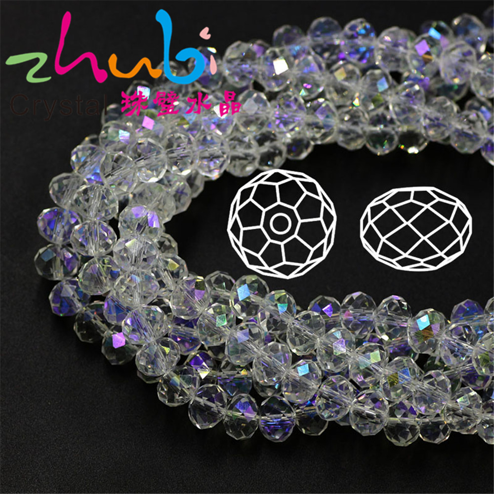 Clear Glass Rondelle Bead 2/3/4/6/8/10mm Faceted Crystal Round Loose Spacer Beasds Crafts Matrials Jewelry Making DIY Decoration