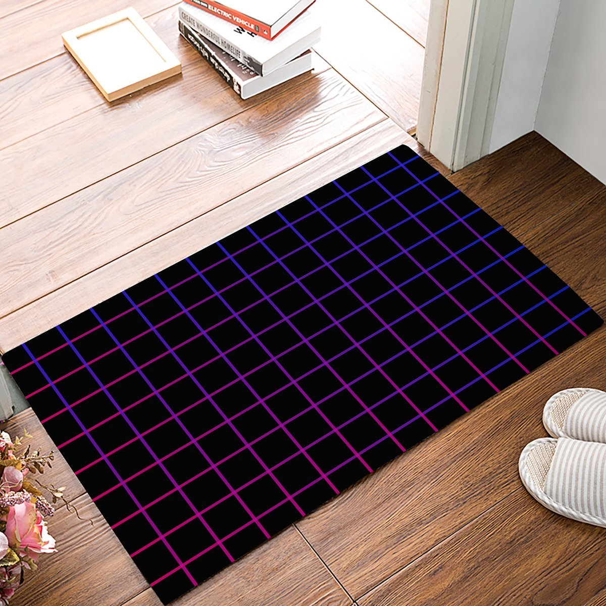 Gradient Red And Blue Neon Light Plaid Door Mats Kitchen Floor Bath Entrance Rug Mat Absorbent Indoor Bathroom Rubber Non Slip
