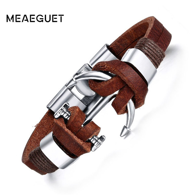 Meaeguet Men's Brown Leather Charm Bracelet