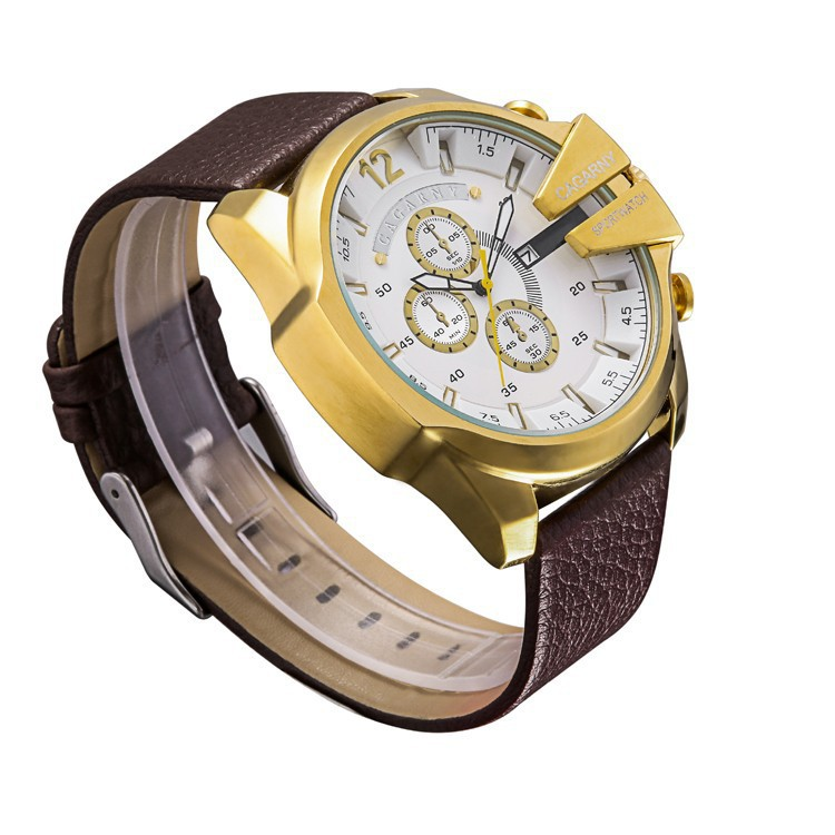 New Arrived Promotion Men's Leather Big Watch Dial Calendar Quartz Wristwatches For Man Fashion Leather Sports Watches
