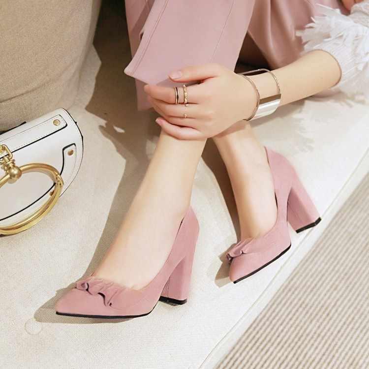ビッグサイズ 9 10 11 12 女性のハイヒールの女性の靴の女性はシャープ蓮の葉エッジ浅いラフ- ハイヒール単一の靴