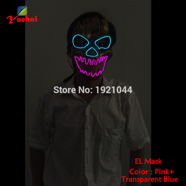 EL wire Mask Halloween Light up vampire Mask EL wire Festival LED Glowing Party dance Carnival SKULL Shock Mask accessories