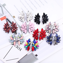 WNGMNGL Luxury Crystal Star Earrings For Women 2019 New Red Blue 9 Color Drop Wedding Jewelry Gift Pendientes Mujer