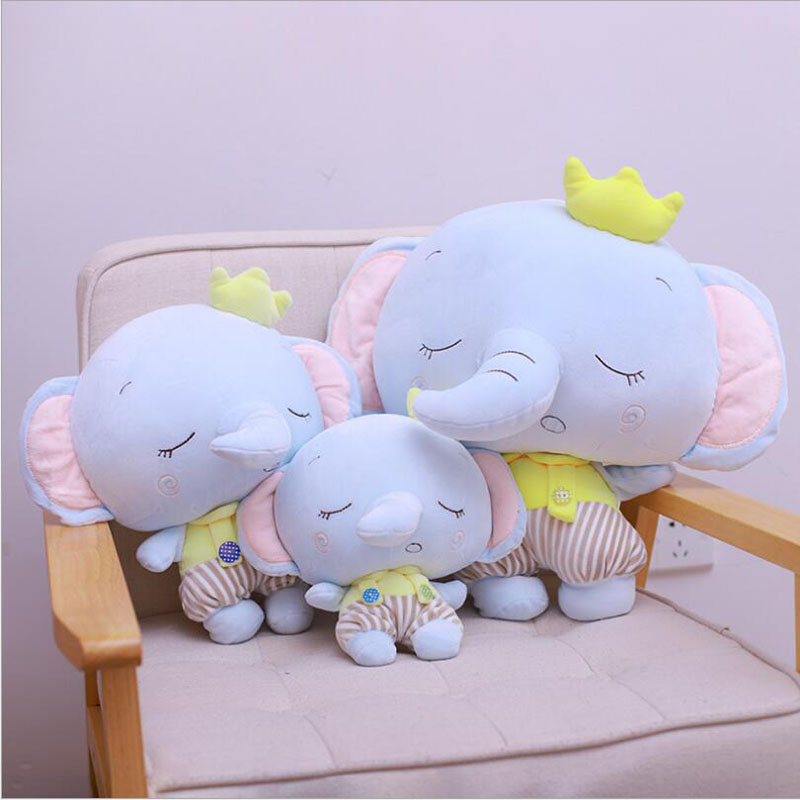 Creative Cartoon Crown Elephant Plush Toys Stuffed Animal Doll Toy Pillow Children Soothe Baby