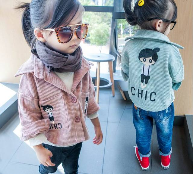 2016 Autumn New Girl Coat Corduroy Embroidered Long Sleeve Fashion Jacket Children Clothing 2-5Y QY8656