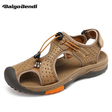 Baigobendi Mannen Real Leather Dicht Teen Haak Lus Outdoor Sandalen Antislip Strand Schoenen Man Zomer Schoenen(China)
