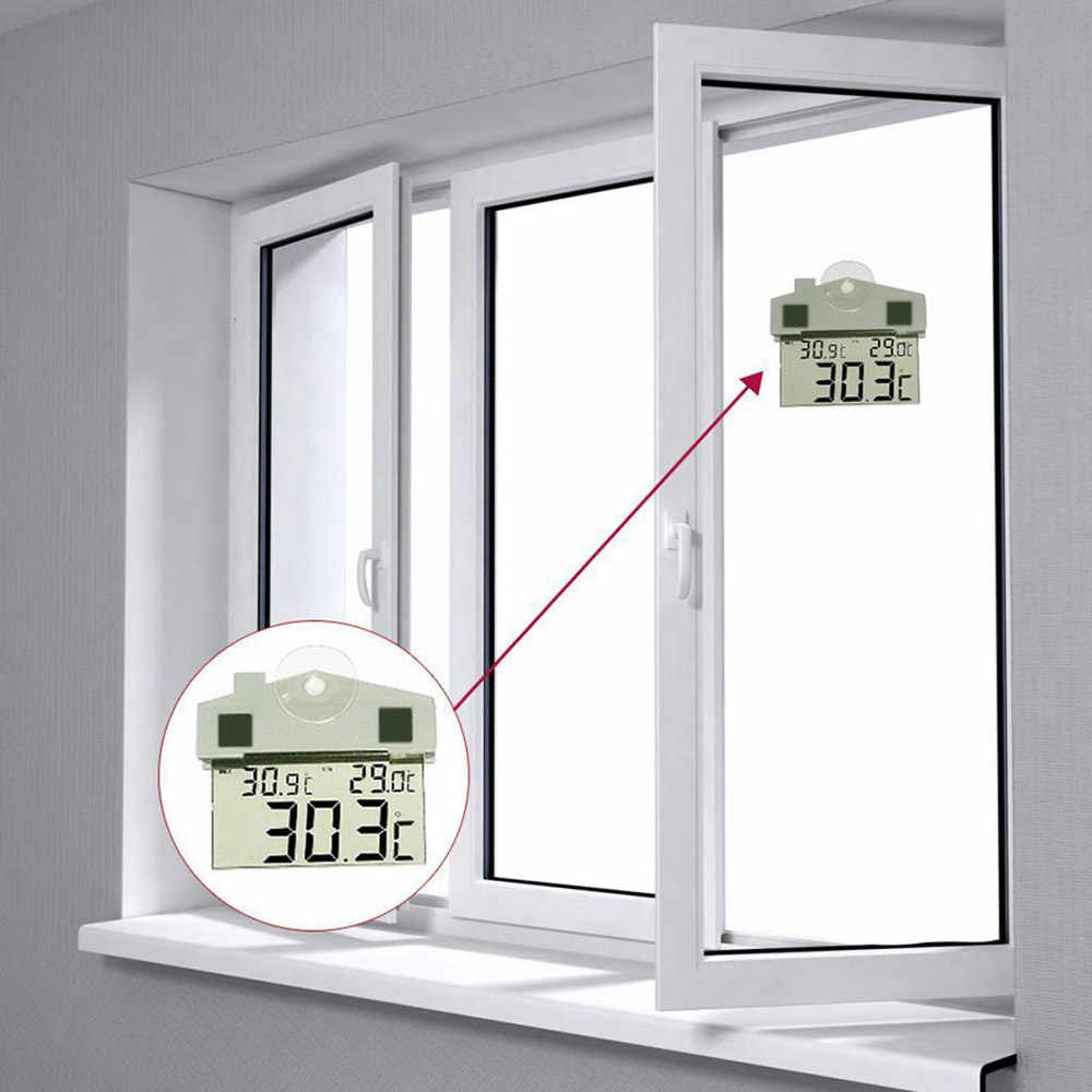 Baru Digital Transparan Rumah Jendela Display Thermometer Hygrometer Indoor Outdoor Suhu Kelembaban Dalam Ruangan Meter Station