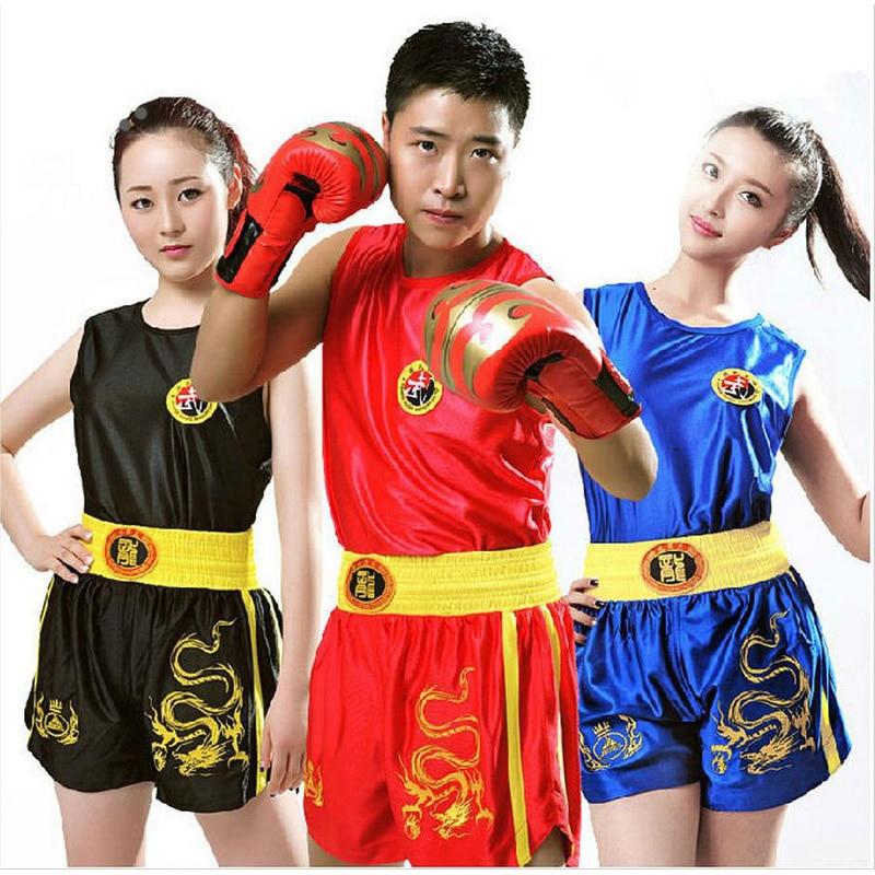Top Quality Sanda Sets Wushu Muay Thai Boxeo MMA Clothes Taekwondo Boxing Clothes Sets Shorts+Jersey Martial Arts Kid To Adult