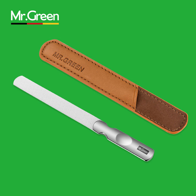 Stainless Steel Nail File with Anti skid Handle and Leather Case Double Sided nail manicure tools small rubbing polishing strip in Nail Files Buffers from Beauty Health