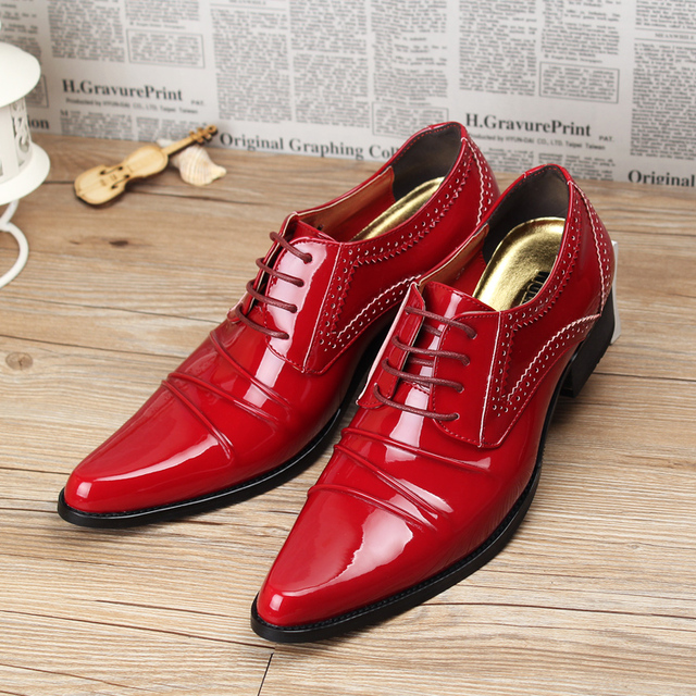 Los Hombres de moda Pisos de Charol Aumento de Suela de zapatos de la Boda Oxfords Con Cordones Ocasionales zapatos de Negocios 022
