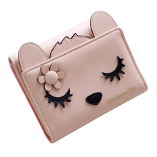 2017 Korean Lady Hasp Short Clutch Wallet Cute Cat Fresh Women Wallet Fashion Female Trifold Small