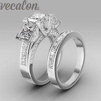 Vecalon Handmade Fashion Ring Wedding Band Ring For Women 6ct Cz Diamond Ring 925 Sterling Silver