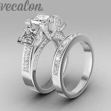 Vecalon hecho a mano moda anillo de boda anillo para las mujeres 6ct 5A ZIRCON CZ anillo 925 plata esterlina anillo de compromiso