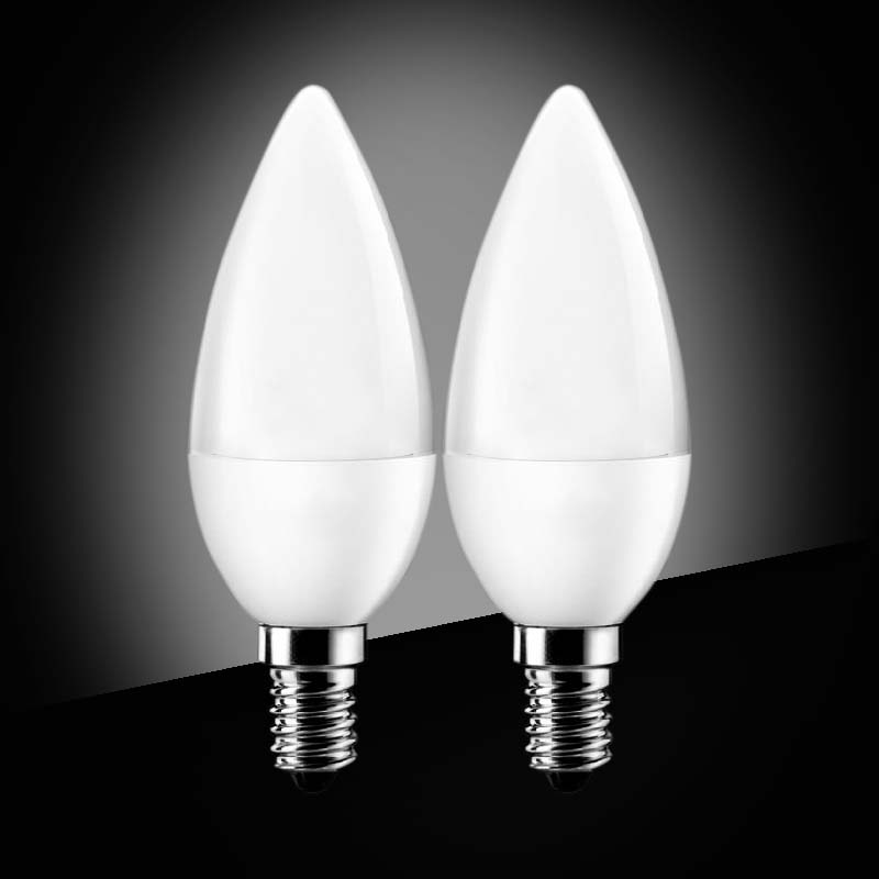 2pcs led candle bulb candelabra e27 led lamp led light smd2835 ac110v 220v led chandelier for home decoration whitecold white