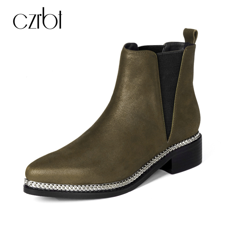 CZRBT Winter New High Top Chelsea Boots Cow Leather Ankle Boots For Women Pointed Toe Genuine Leather Women Shoes