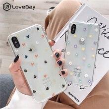 Мягкий прозрачный чехол для телефона Lovebay s для iphone 11 Pro X XS Max XR 6 6S 7 8 Plus, прозрачный силиконовый чехол с цветочным принтом и сердечком