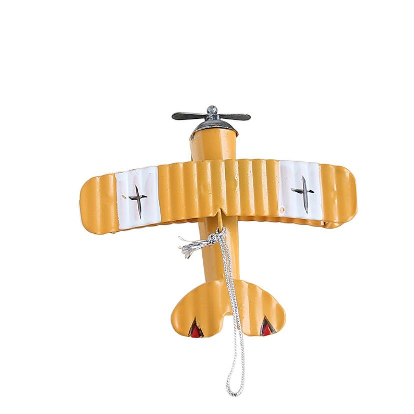 Vintage Plane Model Metall Iron Airplane Miniatures Kids Rooms Table Decoration Wall Hanging Figurines Craft Child Gift GY029 image