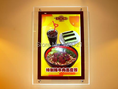 A4 Placa Do Menu Caixa de Luz, Maggic Espelho acrílico Parede Levou Lightbox Quadro de Menu de Restaurante