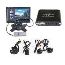 Weivision marca Sistema panorámico Grabación DVR del coche Universal de 360 Grados de Vista de Pájaro, Sistema de Visión Completa + 7 pulgadas HD pantalla del coche