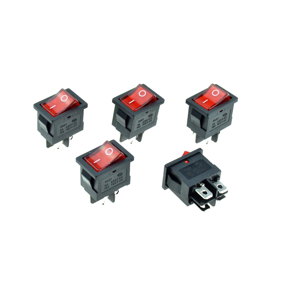 5PCS Red Rocker Boat Switch illuminated Neon Light DPST 4Pins 2Positions ON/OFF 19x13mm Snap-in Panel Mount 10A 125VAC/6A 250V 5 pieces lot ac 6a 250v 10a 125v 5x 6pin dpdt on off on position snap boat rocker switches