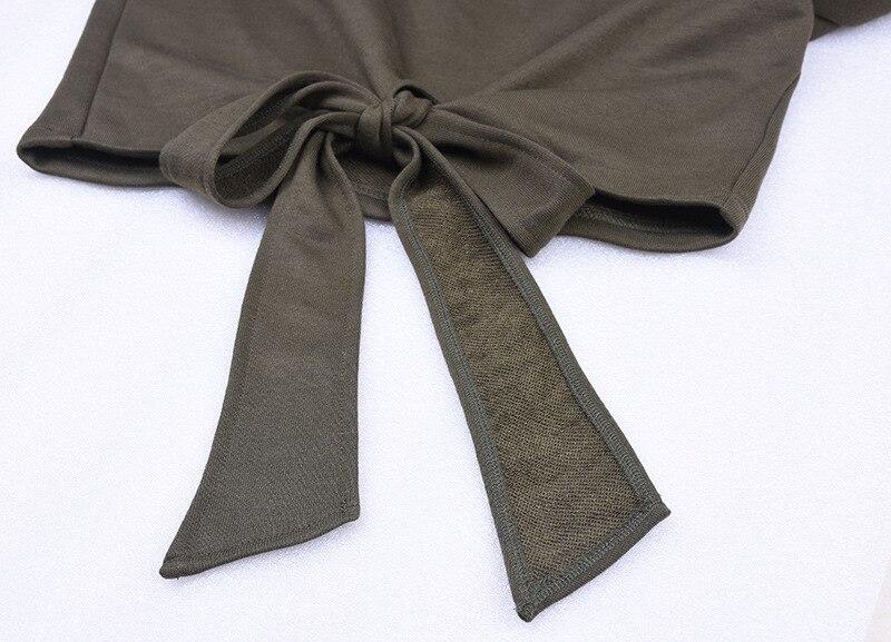 JTCWEAR Slash Neck Crop Top Sexy Lady Long Sleeve Sweatshirts Knot Ties New Fashion Design Tops Casual Hot Young Lady Shirts 680