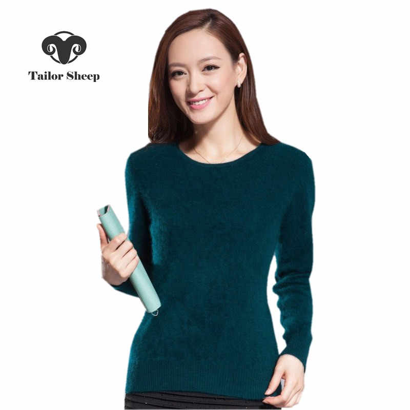 2019 winter warm sweater women soft  comfortable mink cashmere sweaters o-neck Slim bottoming knitted  thick pullover
