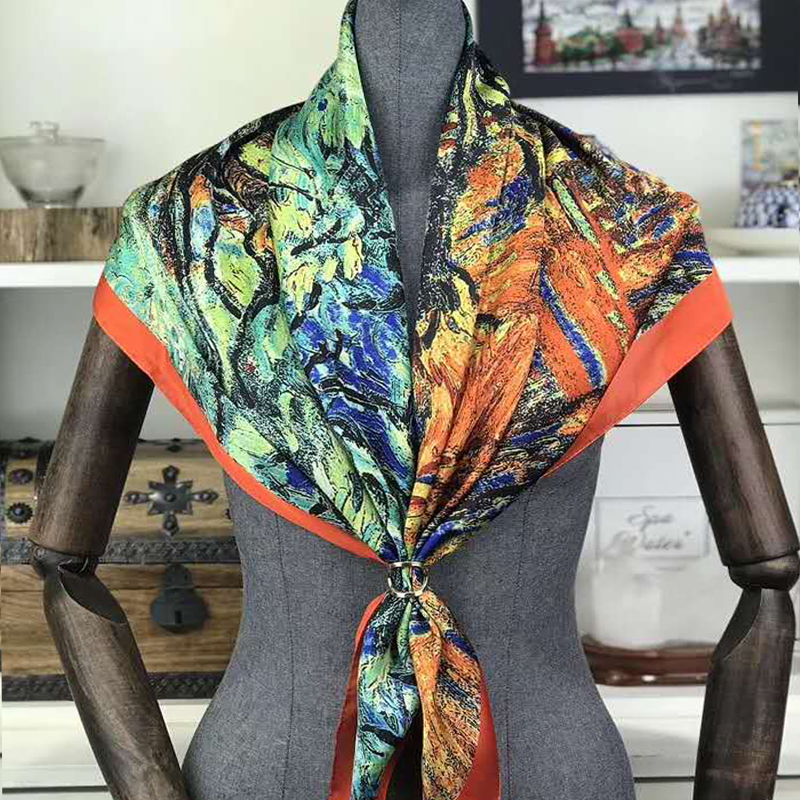 Luxury Designer 100% Real Silk Scarf For Ladies Brand Designer Scarves Spring Fall Van Gogh Oil Painting Square Scarves Wraps