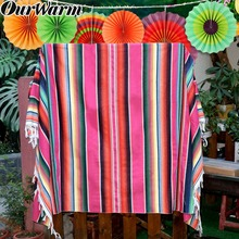 OurWarm Mexican Serape Blanket Wedding Tablecloth Cotton Decor Fiesta Themed Party Hanging Paper Flower Home Wall Colorful