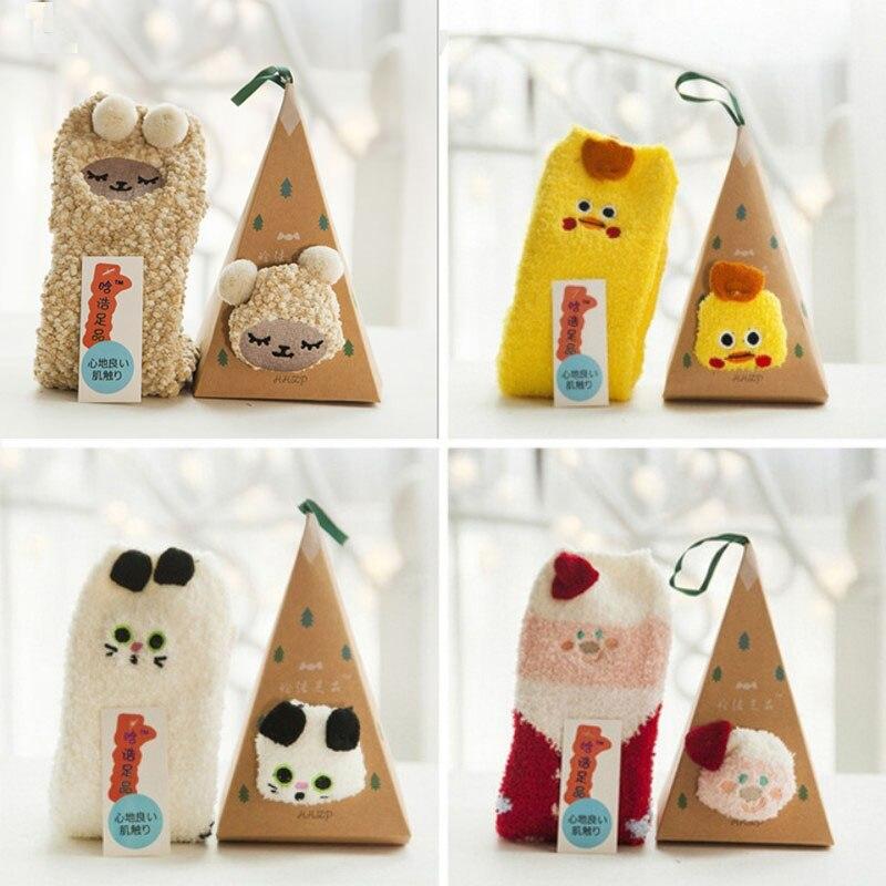 2018 Fashion Cute Baby Socks Kids Sleep Coral Fleece Christmas Funny Sock Animal Panda Winter Autumn Boys Girls Kids Socks