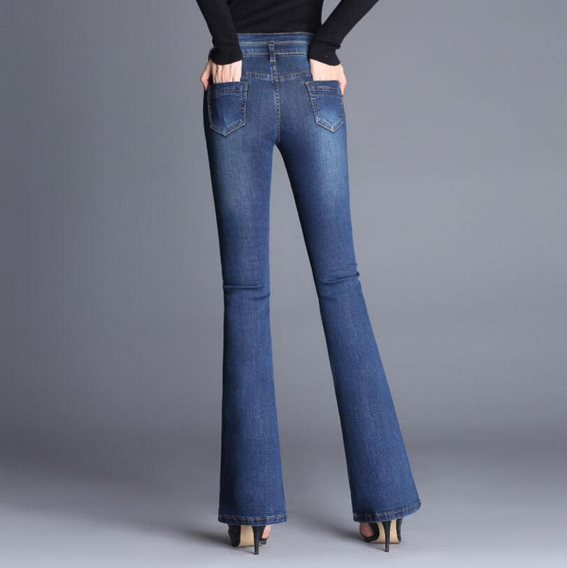 2018 new Autumn High Waist Flare Jeans Pants Stretch Slim Jeans Women Denim Boot Cuts Plus Size s1242