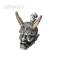 Gothic 925 Sterling Silver Ghost Pendant with Golden Horns for Men Boys Free Shipping