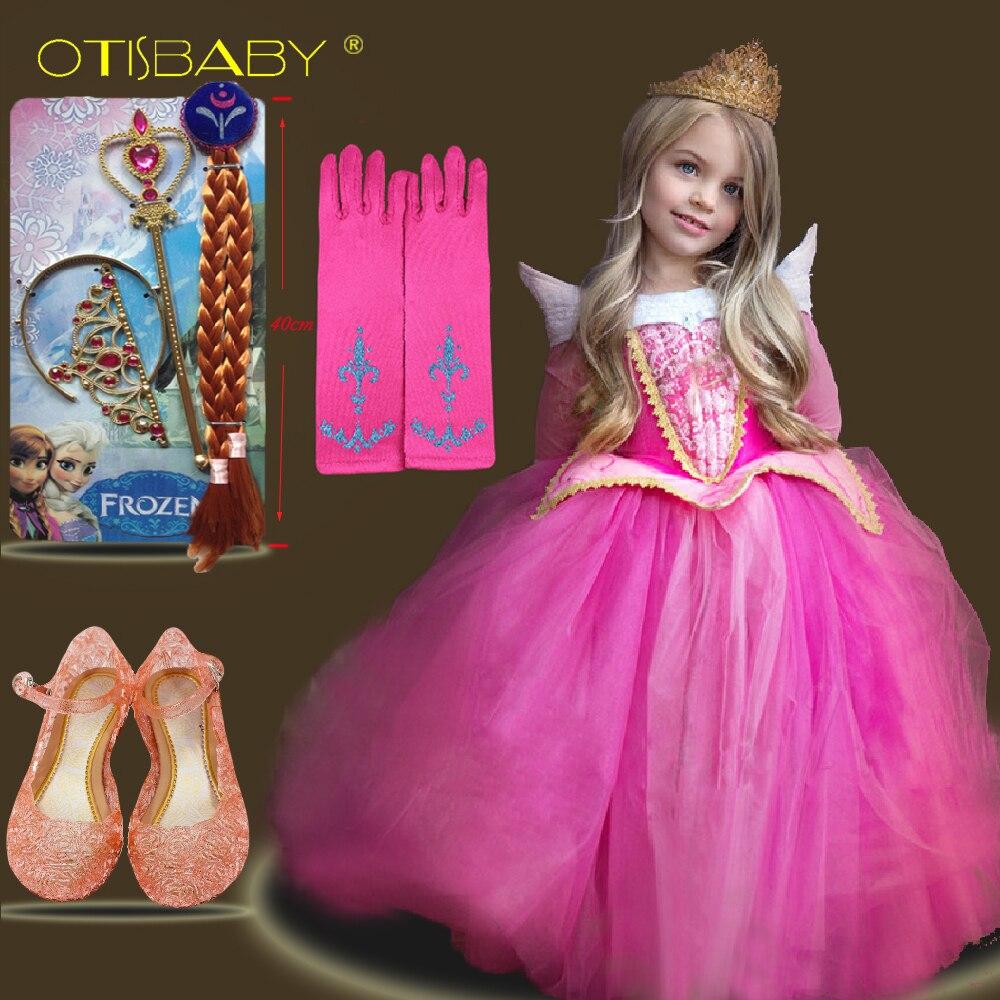 Halloween Kinder Dornröschen Kostüm Phantasie Mädchen Aurora Prinzessin Kleid Baby Tüll Langarm Cinderella Flauschigen Kleider