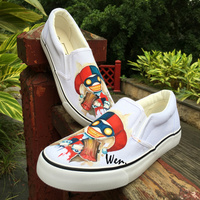 Wen Design Hand Painted Watercolor Painting Amusing Funny Clown Slip On Sneakers Shoes Women Custom Adult