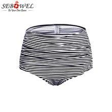 SEBOWEL 2019 Black White Striped High Waisted Bikini Bottom Women Sexy Swimming Shorts Female Summer Panties Swim Briefs