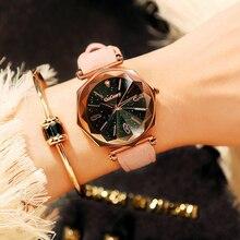 Luxury Women leather Clasp Watch Ladies Big Star Dial Dress